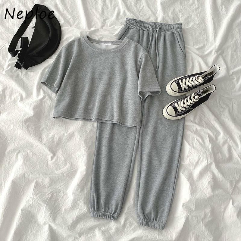NEPLOE Femmes Twoo Tenue Tenue SweatSuit Tops EO-Col à manches courtes + Dacette Stretch Taille Harem Harem Pantalon long Coréen Set1