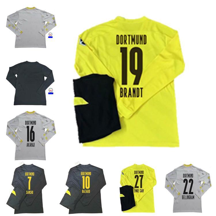 2021 Personalizzato Haaland Manica lunga Maglia da calcio Gotze Reus Sancho Witsel Jersey Pulisico Reyna Delaney Hazard Schulz Camicie da calcio