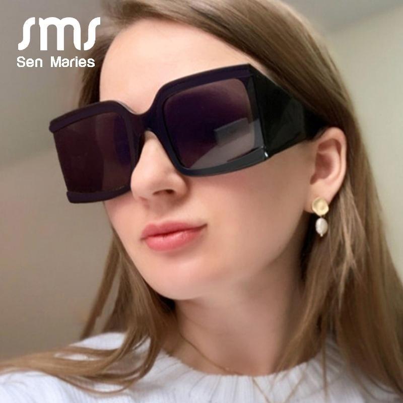 2020 cuadrado retro Negro Gafas de sol de las mujeres del nuevo diseñador de gran tamaño Gafas de sol para el festival Mujer Gafas UV400 Gafas