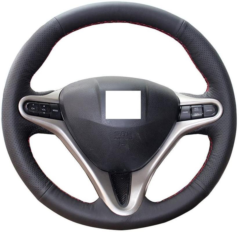 DIY Direksiyon Kapak 3 Spokes 8 Honda Civic DIY diker İç Aksesuar 13,5-14,5 inç Dikiş On Wrap Siyah Hakiki Deri için