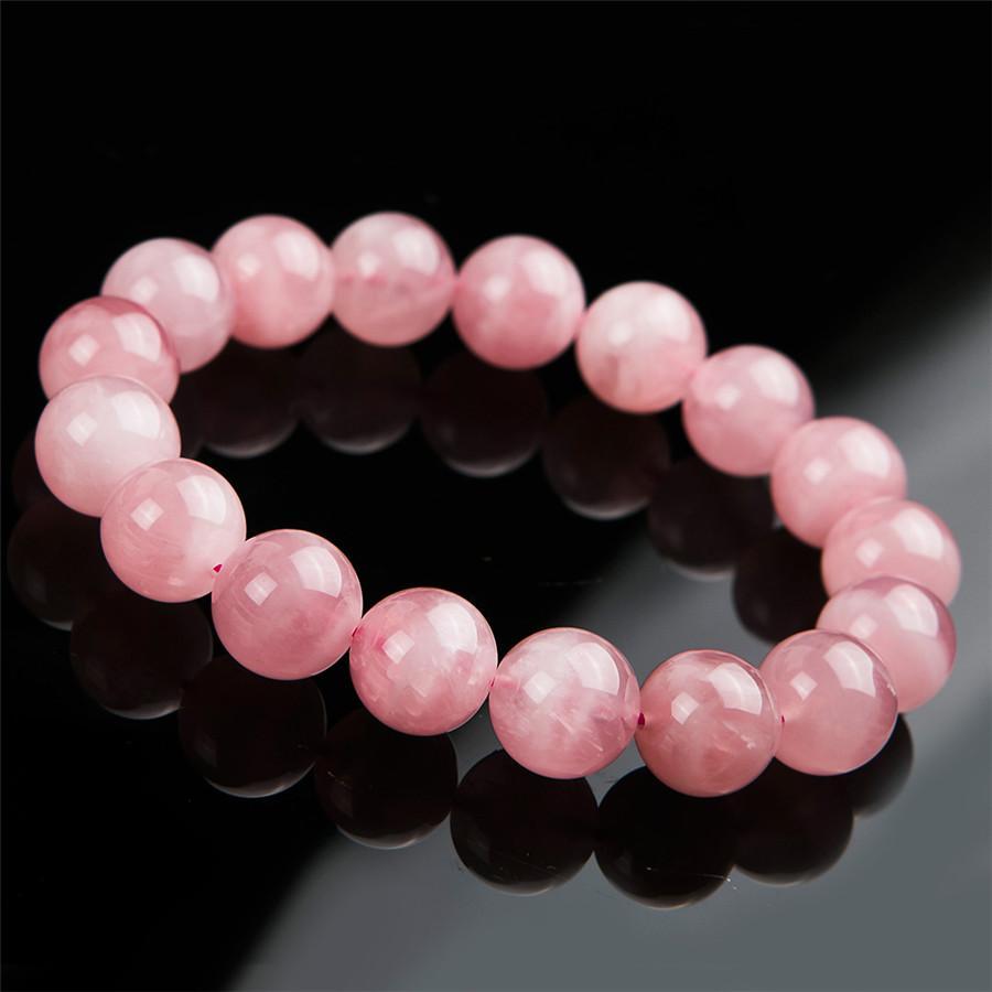 Madagascar genuino Natural Rose brazaletes de color rosa de cuarzo de 12 mm 13 mm 14 mm 15 mm sanación con cristales estiramiento grano redondo de la pulsera de las mujeres