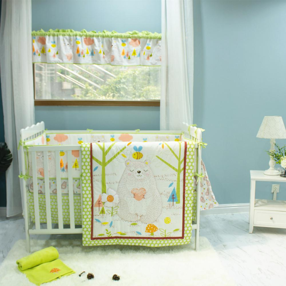New Baby Bedding Set 7pcs Cotton Crib Bedding Set For Newborns Quilt Bumpers Bedskirt Fitted Cartoon Bear Bees Trees