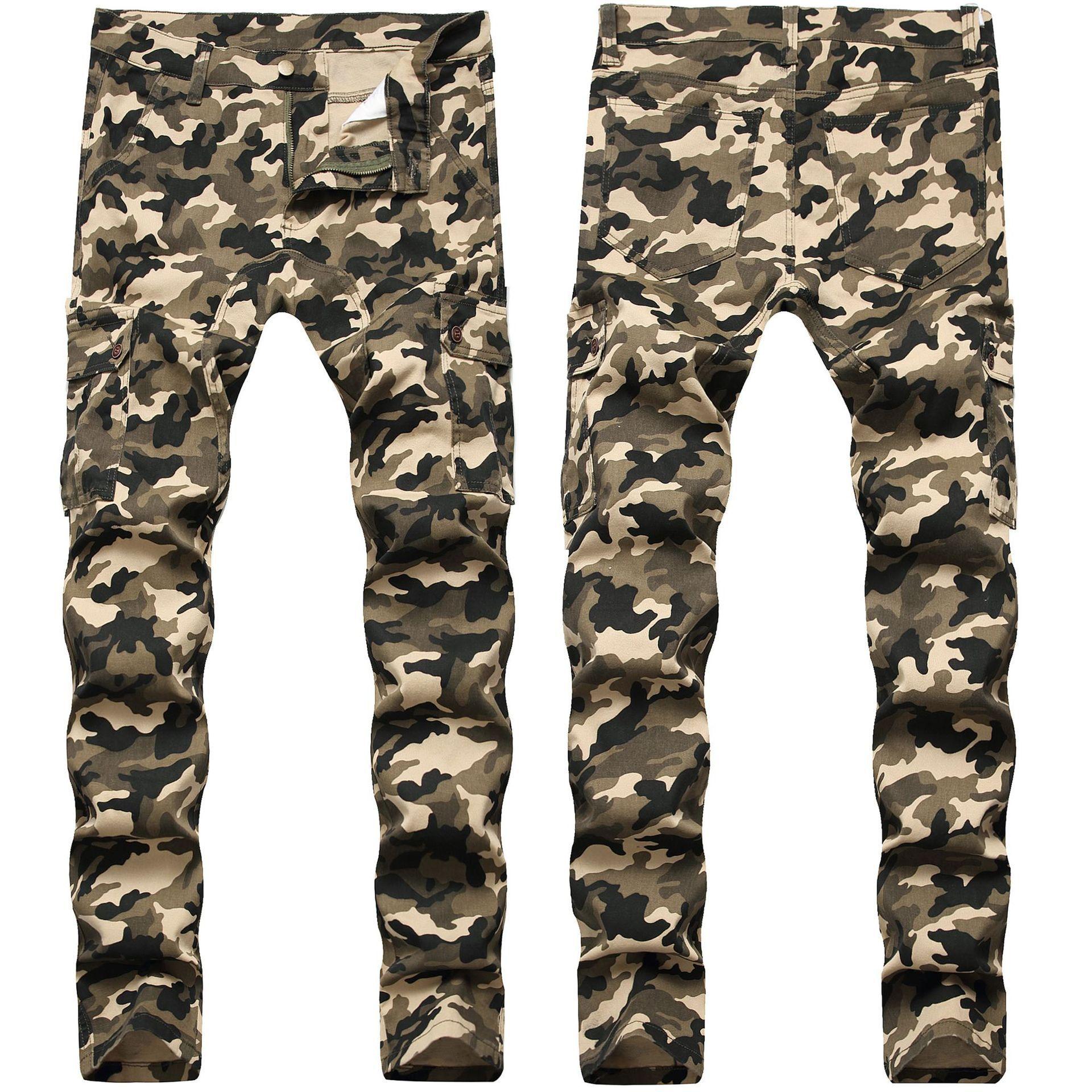Sıska Erkek Camo Jeans Serin Erkekler Kot Streç Slim Fit Denim Biker Kot Hip Hop Erkekler Streetwear 755 #