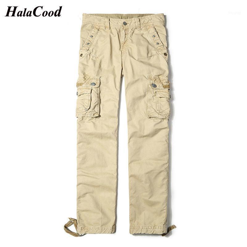 Pantalones para hombres Hombres de carga Algodón Multi Bolsillos Táctico Hombres Streetwear Stray Slacks Outwear Pantalones largos Hombre 29-401