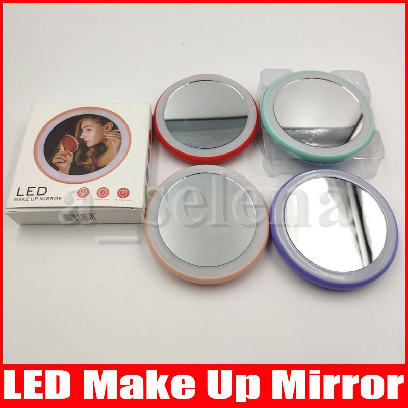 المحمولة LED ماكياج مرآة نظارات المكياج جيب مضغوط التجميل مصغرة أضواء الصمام مرآة مصابيح 90 * 90 سنتيمتر