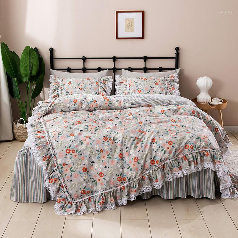 Coreano Princess Pizzo Ruffles Biancheria da letto in stile gonna floreale Set di biancheria da letto in puro cotone Pastoral ropa de Cama Couvre Cover Lit Duvet Set1