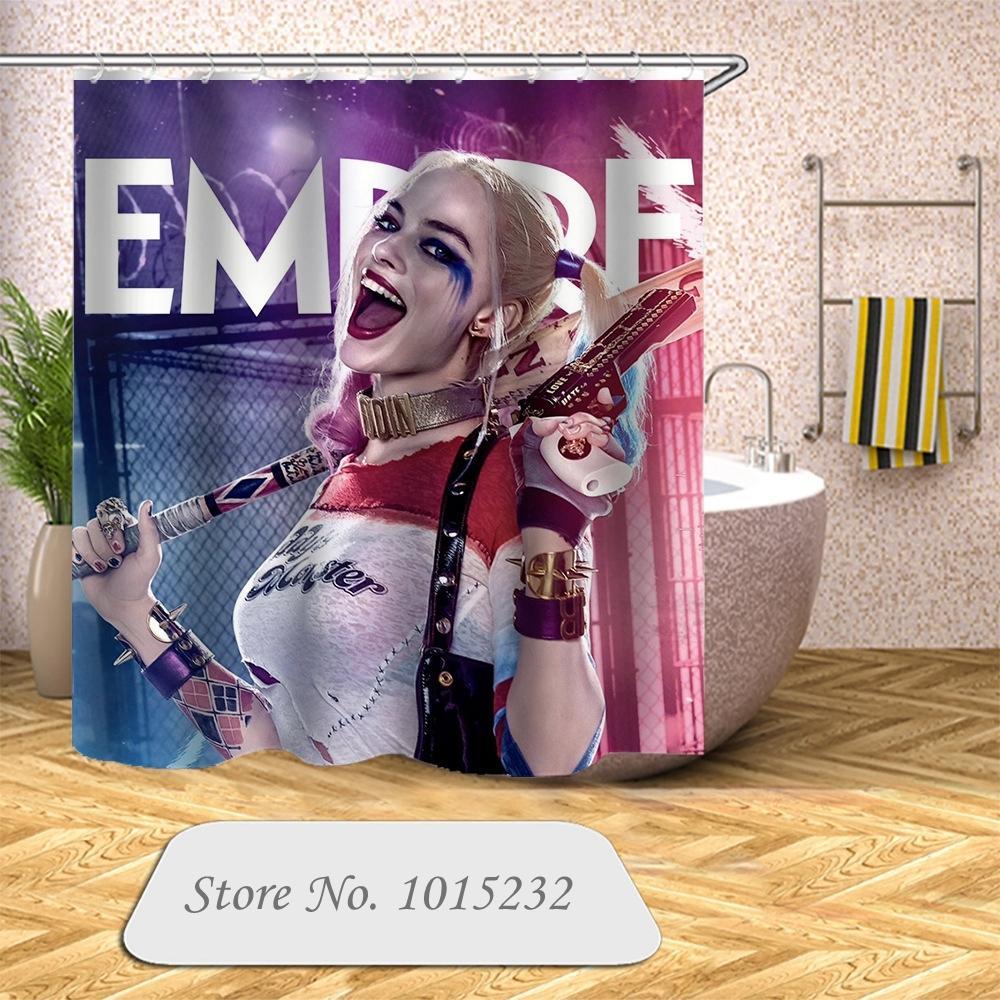 Su geçirmez Kanca Banyo Perde 04 X1018 Perde Yeni Geliş İntihar Ekibi Harley Quinn 3D Baskı Duş Perde Polyester Kumaş Banyo