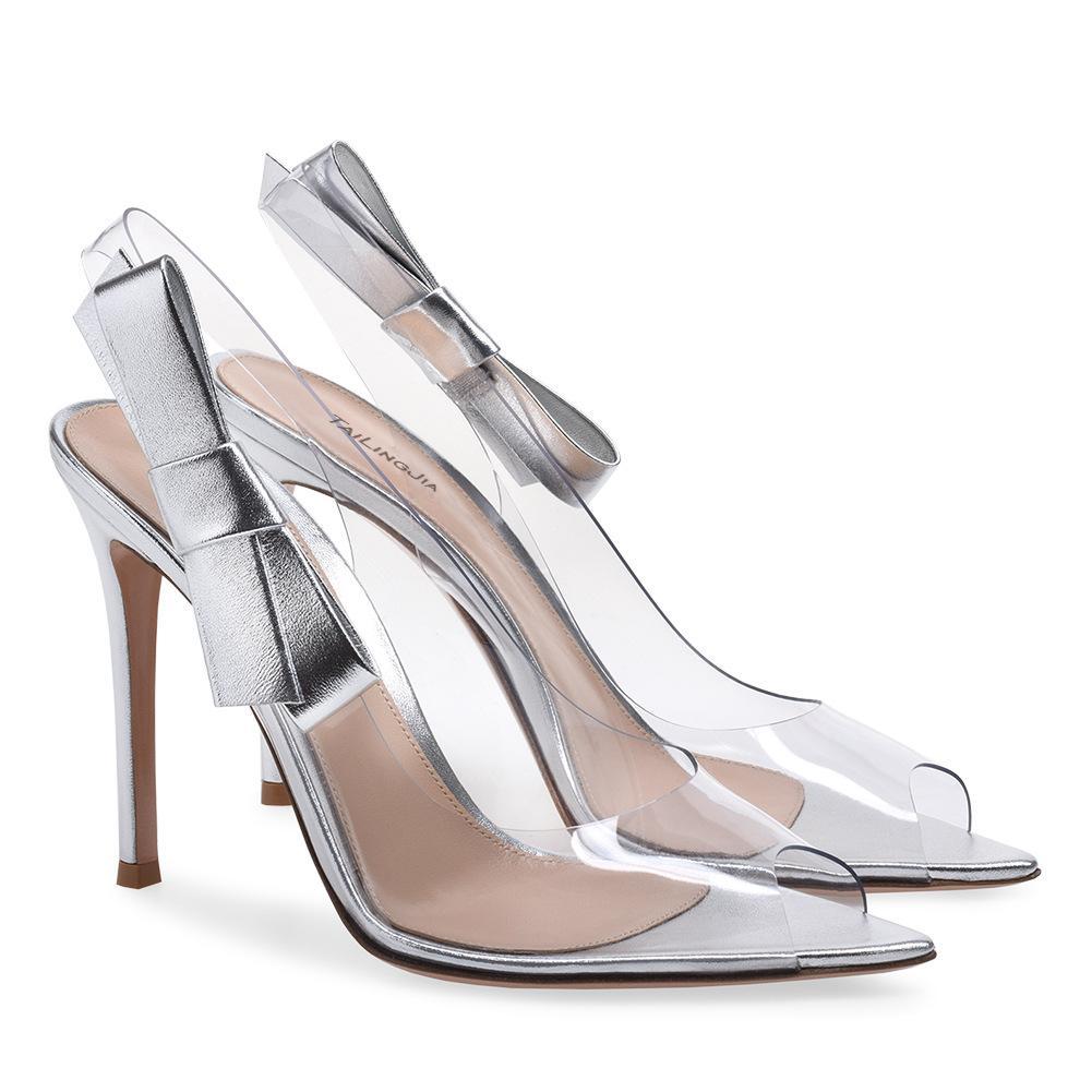 Vendita calda Donne Eleganti Sandali Eleganti PVC Transparent Jelly Pointed Toe Donne Pompe tacchi alti Pantofole Tacco Cancella sandali da sposa Party Scarpe