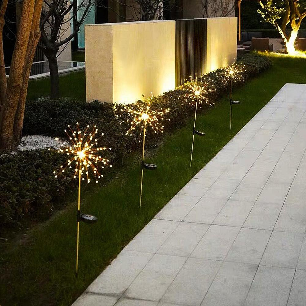 Solar powered LED fairy lights Flash fireworks Dandelion lamp Wedding Christmas party Outdoor Garden landscape lawn decoration Y200903