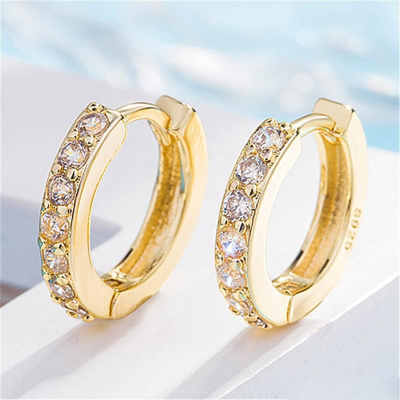 Moda cristalinos cúbicos Zirconia pequeño aro pendientes para las mujeres de la muchacha del estilo coreano Ronda clip del perno prisionero del diseño del oro de joyería de plata regalo