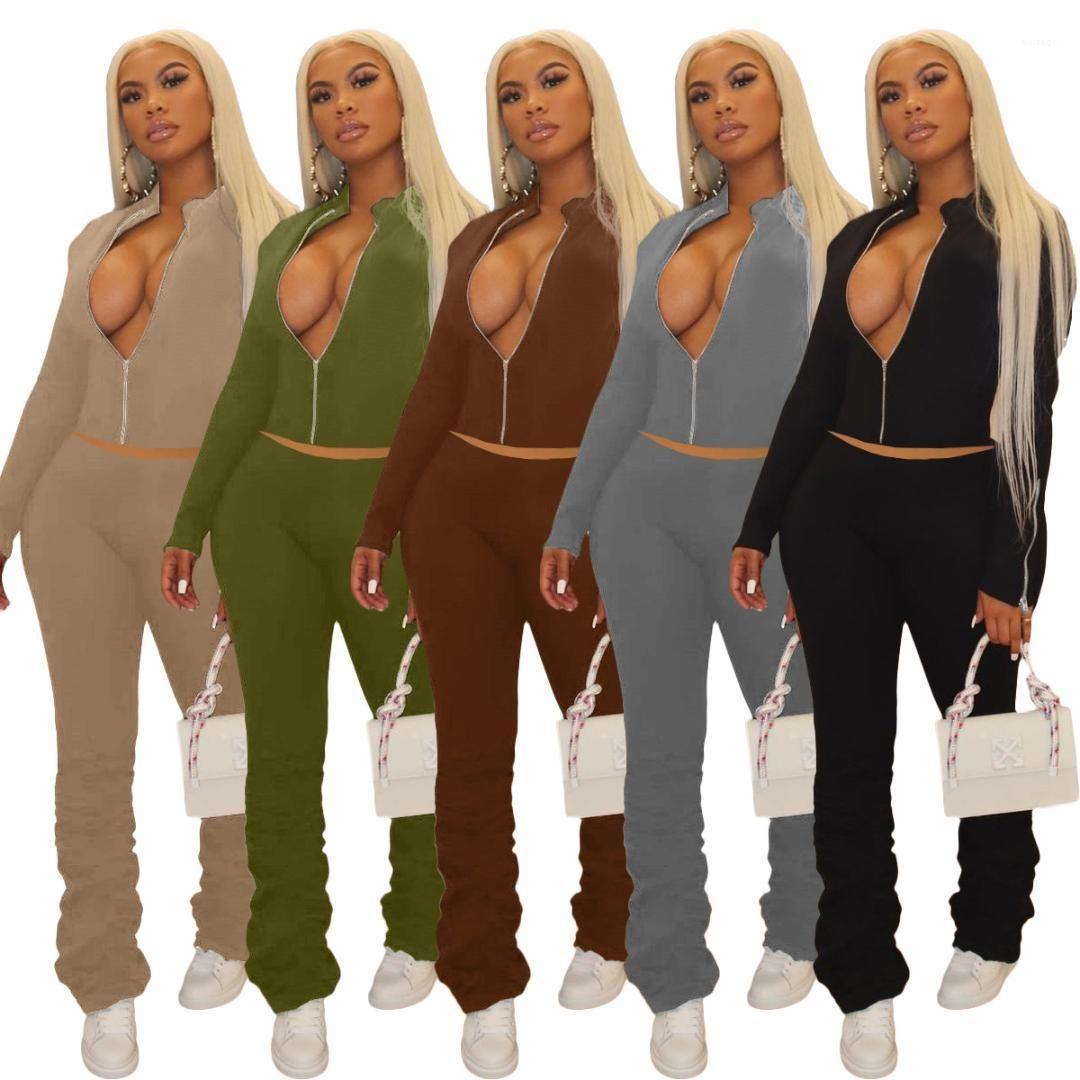 Giyim Seti Katı Renk Fermuar Hoodies Yığılmış Pantolon 2 adet Set Moda Kadın Giyim Bayan 2 Parça