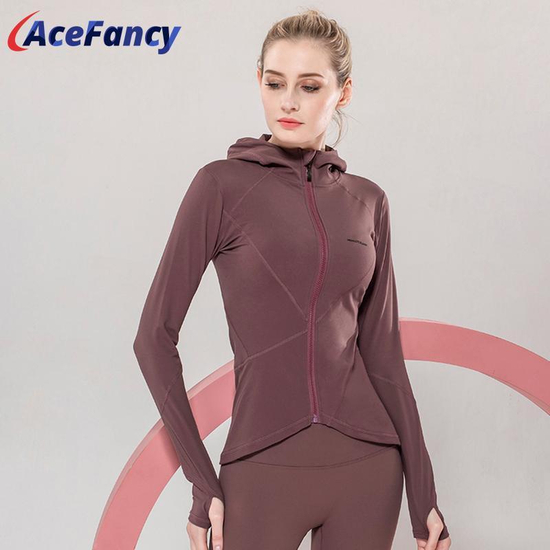 Spor Salonu ceketler T2065 Koşu Acefancy Kadınlar Uzun Kollu Yoga Ceket Slim Fit Yoga Mahsul ile Üstte Başparmak Delikler Spor Coat