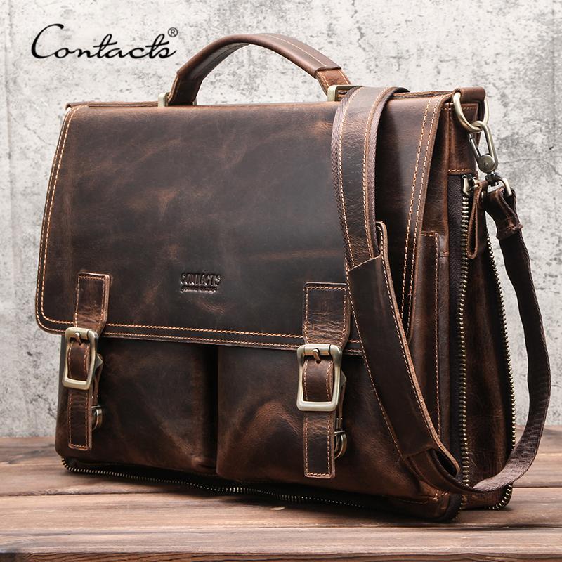 CONTACT'S Men Briefcase Bag Crazy Horse Leather Shoulder Messenger Bags Famous Brand Business Office Handbag for 14 inch Laptop Q0112