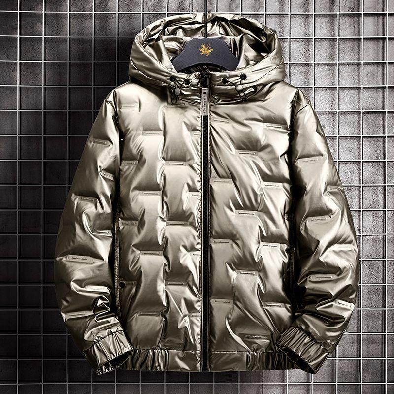 Han Edition Красивый мужской пуховик зимой 2020 новый PU кожаное популярное пальто блестящее тонкое пальто Y1118