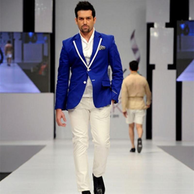 Men's Suits & Blazers Peaked Lapel Royal Blue Men Suit With Ivory Pants 2021 Fashion 2 Pieces Wedding For Mens Tuxedos (Jacket+Pants+Tie)