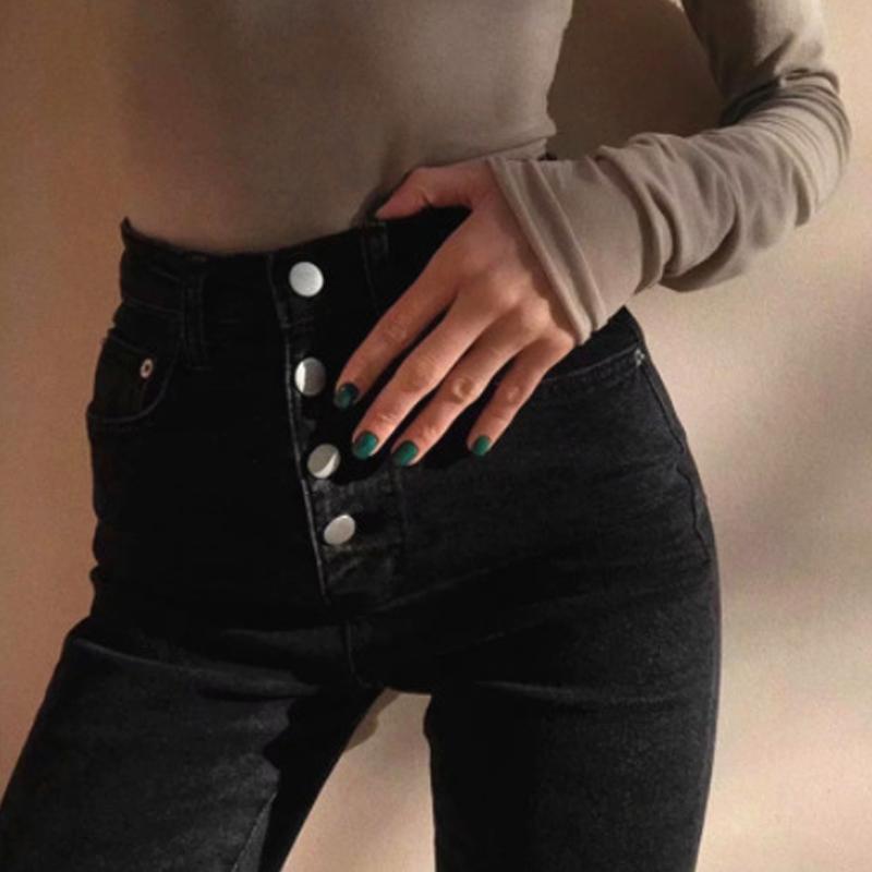2020 Yüksek Bel Kot İçin Kadınlar 2020 İlkbahar Sonbahar Siyah Skinny Jeans Kadın Kalem Denim Pantolon Günlük Pantolon Kadın