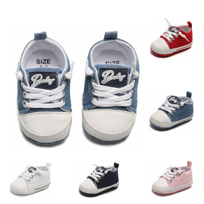 New Baby Girls Casual First Shoes Spring Autumn Toddler Newborn letter Prewalker Infant Boys Lace-Up Babies Shoes C6628