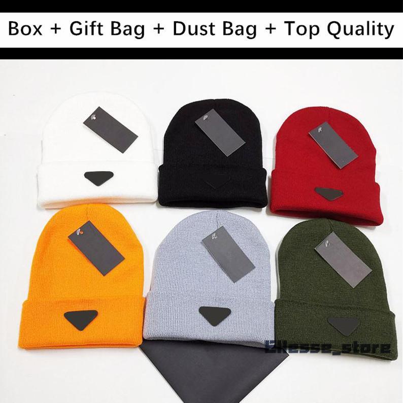أعلى جودة للهدايا مع مربع هدية حقيبة 2020 رجل المرأة الجمجمة قبعات قبعة بونيه الشتاء الرجال محبوك قبعة قبعات الدافئة القبعات دراغ بيني gorros