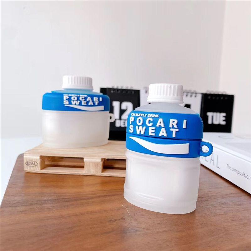 Para Airpods 1 2 Pro Caja de carga 3D Deportes Bebida Transparente Auricular Estuche Silicona Inalámbrico Bluetooth Proteger Funda Auricular