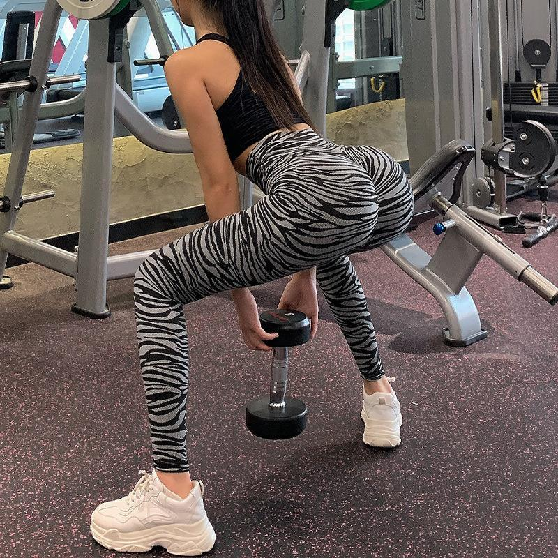 Yoga Outfits European And American Peach Leopard Print Fitness Pants Women's High Waist Tight-fitting Hip Leggings Wear Running