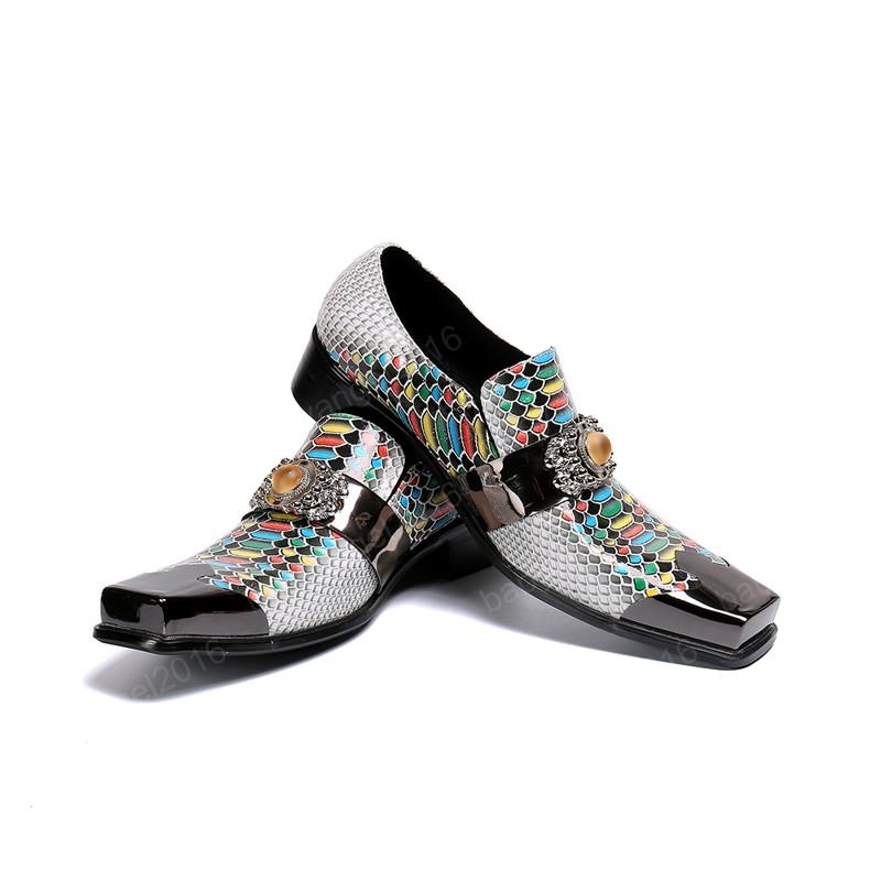Edelstein Party Hochzeit Männer Kleid Schuhe Quadratische Zehe Druckgeschäft Formale Schuhe Echte Leder Männer Schuhe Schuhe