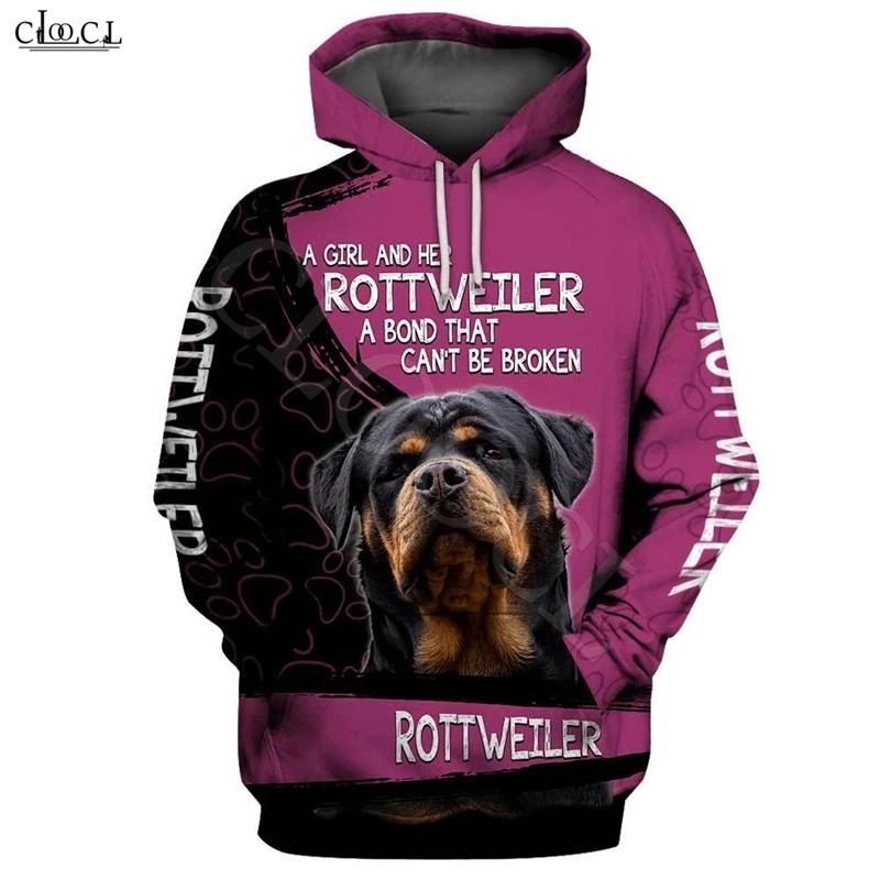 Moda Uma menina e seu cão Rottweiler Imprimir Hoodie Homens Mulheres Mulheres Moletom Casual Pet Dog Designs Capuz Casaco Com Capuz Frete Gota 201103