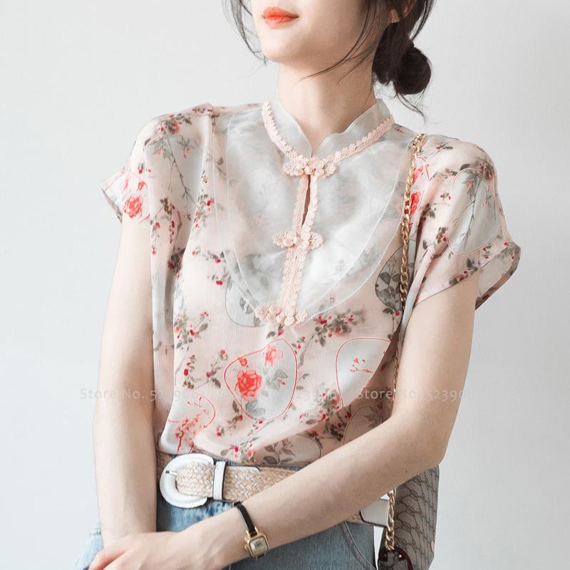 الملابس العرقية 6 اللون النمط الصيني الرجعية qipao قمم فيتنام النساء شيونغسام خمر الأزهار طباعة تشي باو تي شيرت حزب الزفاف hanfu t-s