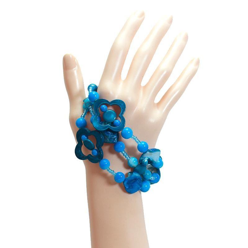 Venta caliente hecha a mano azul cáscara pulsera del Knit de la mano de múltiples capas conchas Pulseras Mujeres Strand pulsera Accesorios