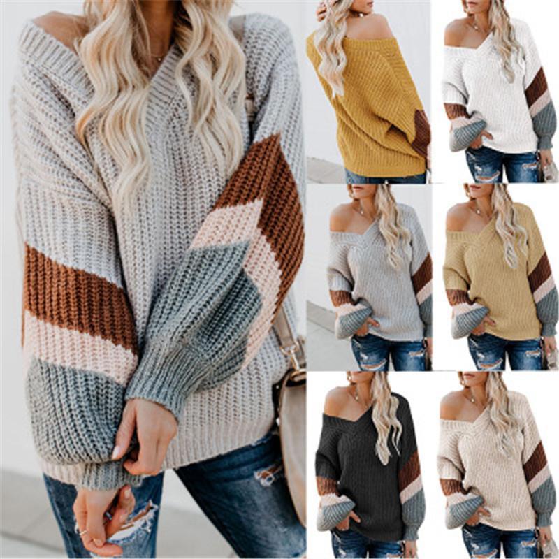 Damas Empalme raya suéter tendencia de la moda de manga larga con cuello en V de diseño tejido suelto Tops Mujer Otoño Nueva Casual tamaño extra grande de suéteres