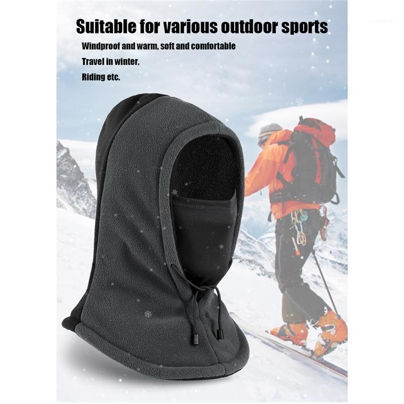 Cycling Caps & Masks Winter Warm Fleece Balaclava Hat Double Layer Cap Windproof Skiing Fishing Running Outside Sports Hat1
