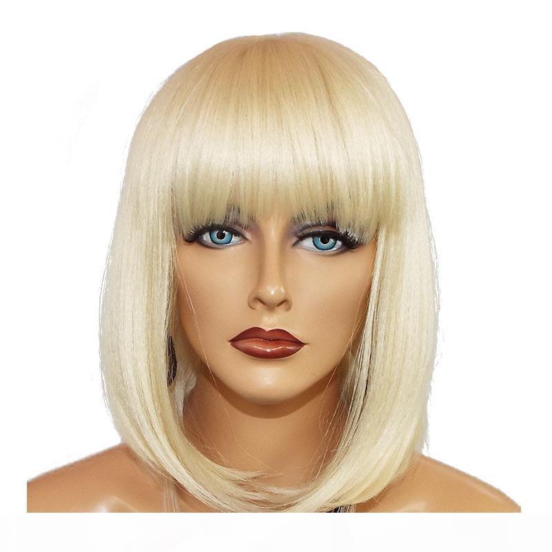 Blonde Bob Lace Front Perücke Menschliches Haar gerade Kurze Bob Cut Honey Blondine Bunte 613 Lacefront Human Hair Perücken mit Pony