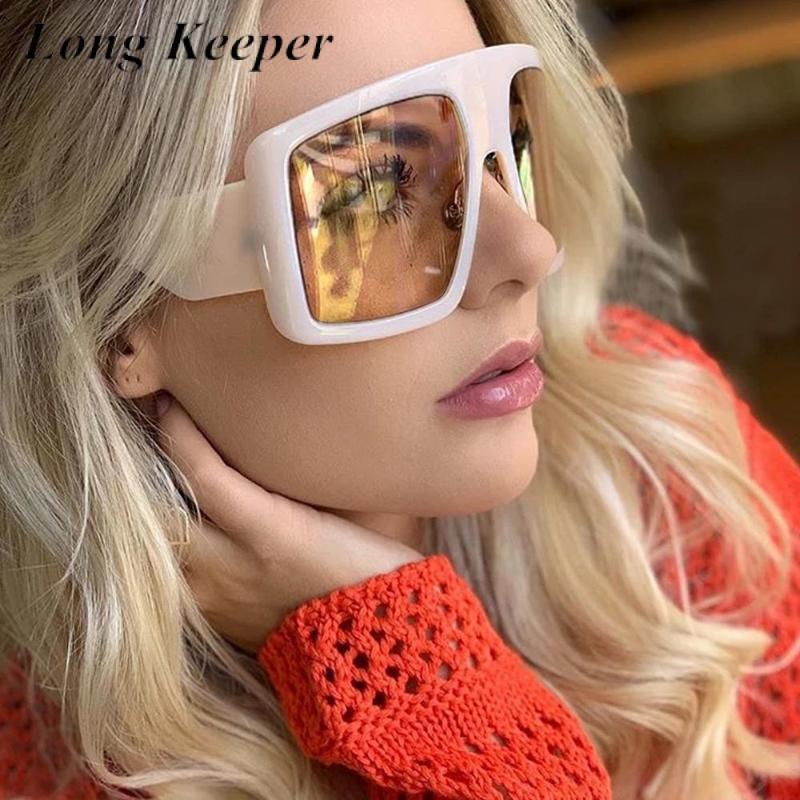 Longkeeper de gran tamaño de una pieza mujer cuadrada gafas de sol 2021 Nueva moda Vintage Big Shield Sun Glasses Hombres Hip Hop Sombra degradado