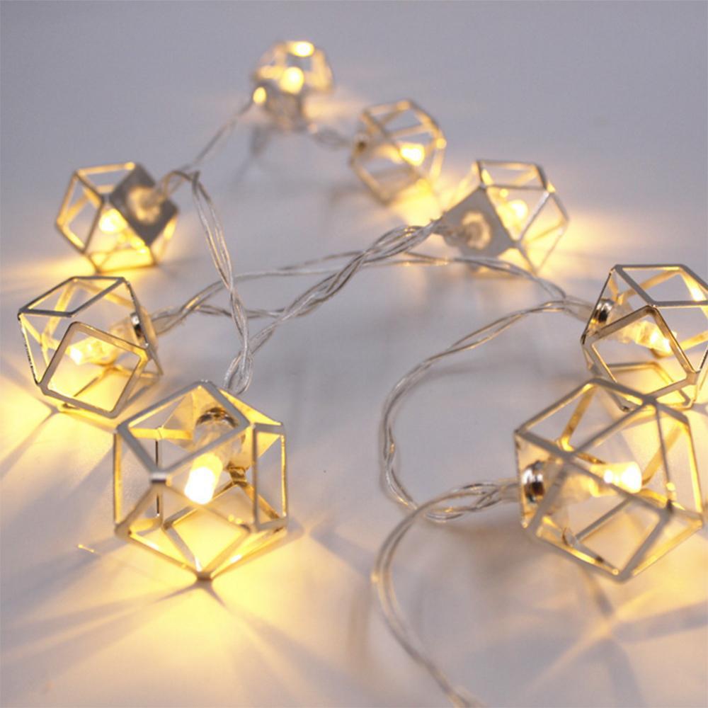 LED Polyhedron 빛 문자열 크리스마스 장식 라이트 문자열 -15m10led 배터리 상자 따뜻한 화이트 공 결혼식 장식