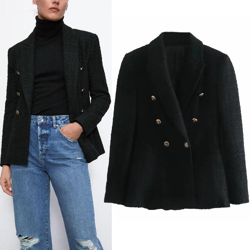Siyah Dokulu Gömme Kruvaze Blazer Kadın ZA Sonbahar Ofis Bayanlar Yaka Yaka Uzun Kollu Yüksek Kaliteli Bayan Blazers X1214