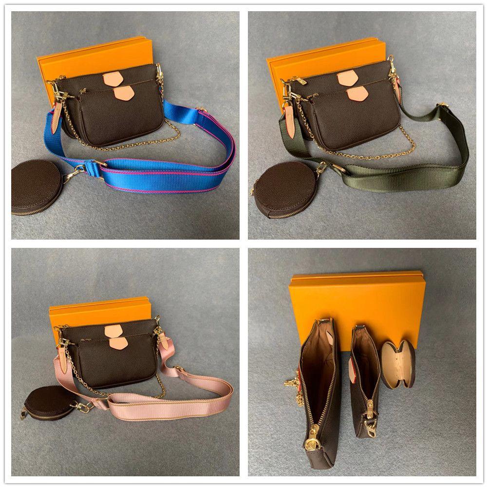 3 Parte / conjunto Multi Multi PoChette Acessórios Bags Mulheres Bolsas De Couro De Luxo Noite Bolsa De Bolsa De Bolsa Com Caixa