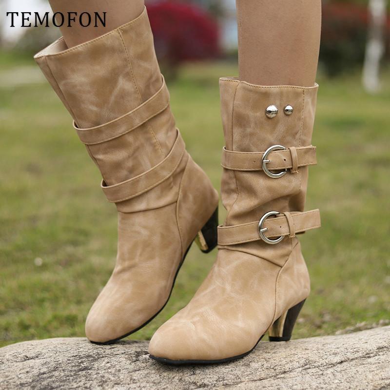 TEMOFON outono inverno botas de meados de bezerro mulheres saltos quadrados chunky sapatos casuais fivela do vintage botas senhoras ocidentais de calçados HVT1279