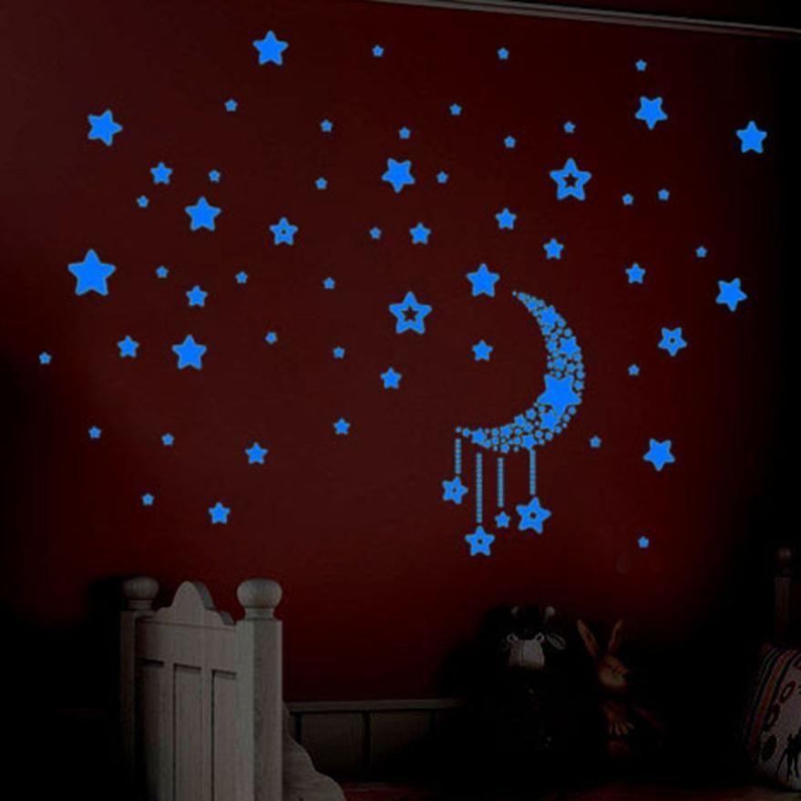 Camera da letto dei bambini fluorescente Glow scuro Stelle adesivi murali di plastica luminosa della stella Fosforlu Wallpaper Pegatinas15 S227