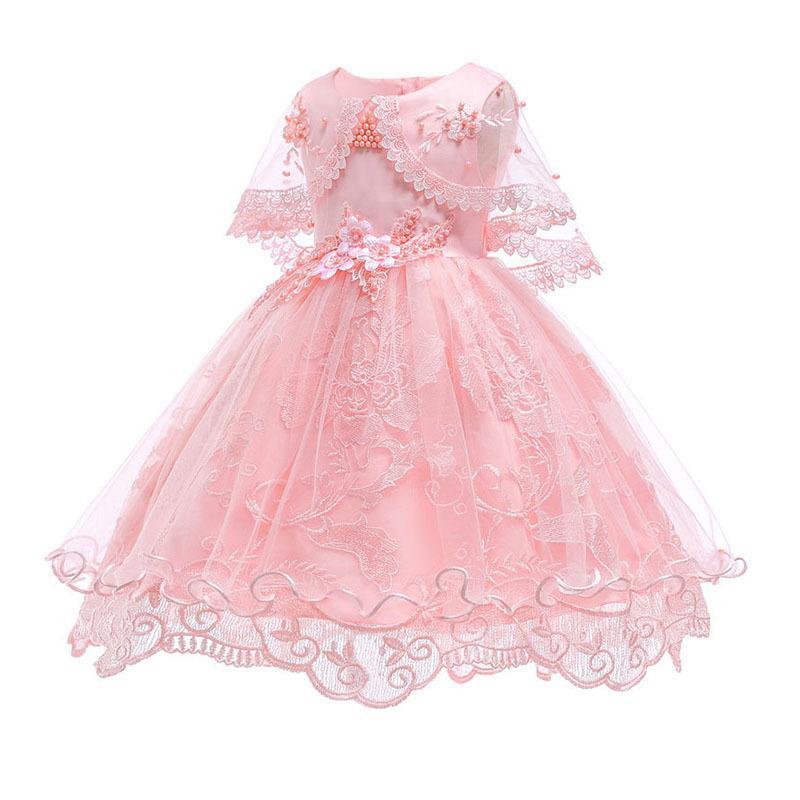 Один год именинница нарядах Детский розовый кружевной бисера вышитые принцессы партии Пачка платье рябить Puffy Платье для малышей 1026