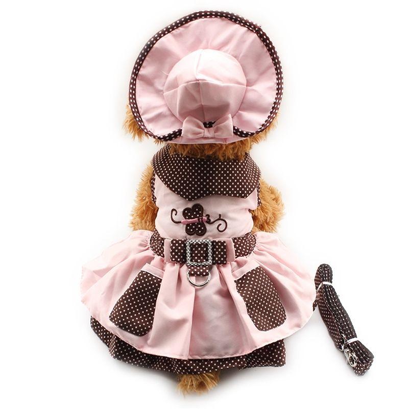 ARMI Store Butterfly Pattern Dog платья собаки Платья собаки Princess Dress 6071052 Pet Stuppy Sace (платье + шляпа + трусики + поводки = 1 коммуникация LJ201130