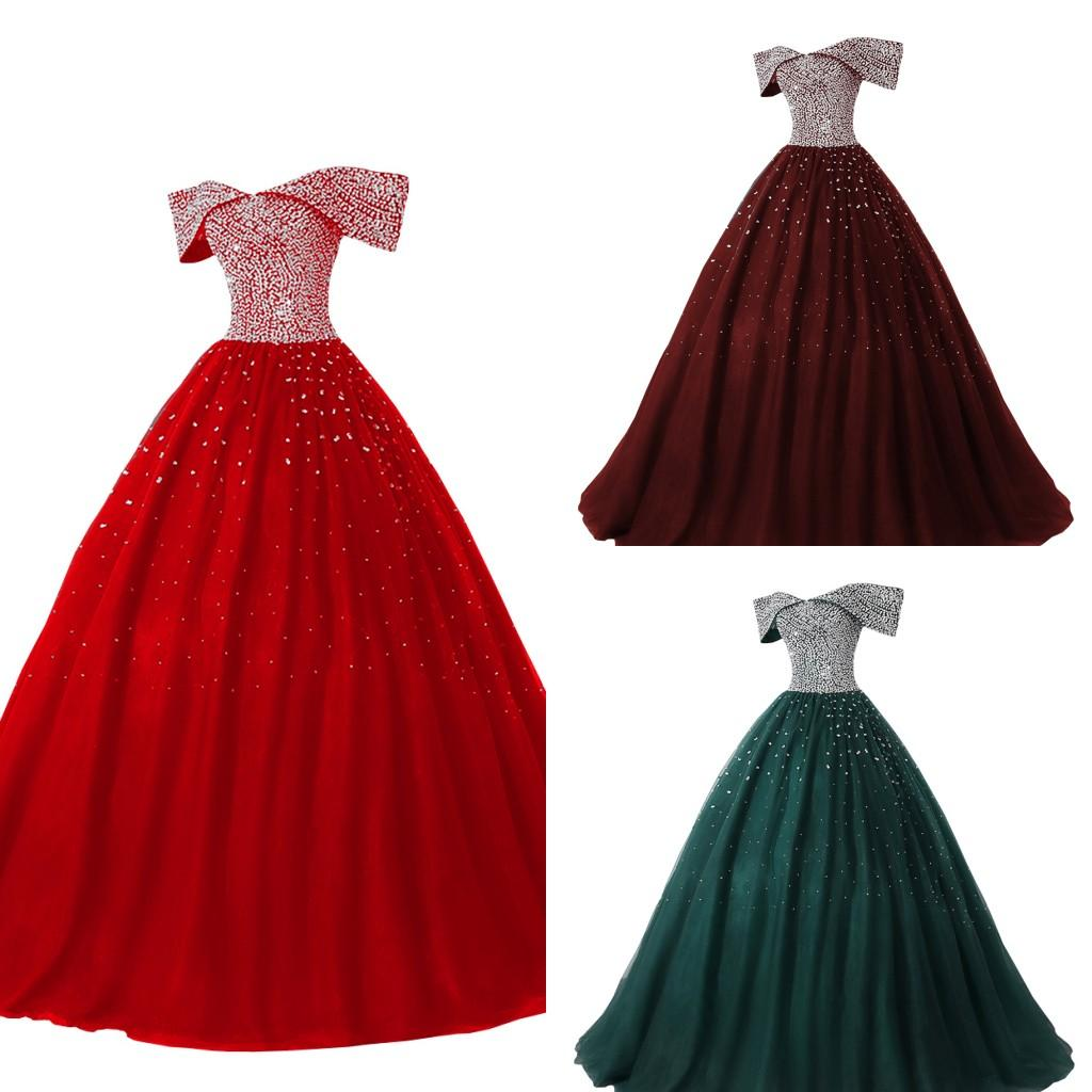 Stunning Off Shoulder Pageant Dresses Princess Women 2021 Beaded Sequins Tulle Corset Back Prom Quinceanera Dress Long Guest Plus Size