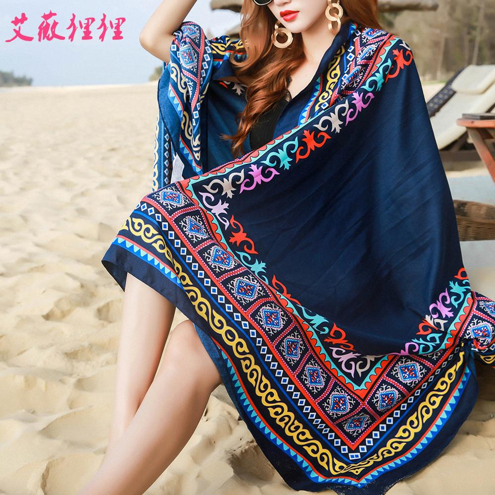 woman Sunscreen Scarves cotton linen scarf national wind travel scarf holiday air conditioning shawl tassel ladies beach towel Y201007