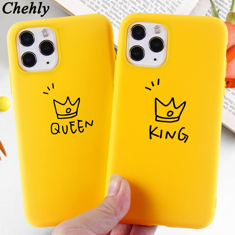 Queen King Cell Phone Case for iPhone 6s 7 8 11 Plus Pro X XS Max XR Crown Cases Soft Silicone Fitted TPU
