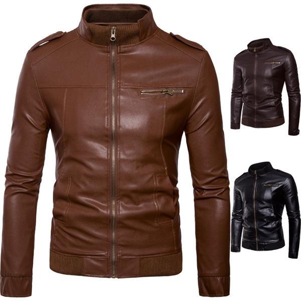 Мужская европейская американская куртка Весна и осень Мода Стенд Воротник Кожаный Пальто C1021