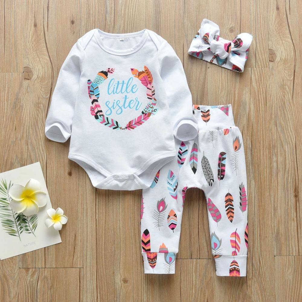 3adet Bebek Kız Harf Küçük Kardeş Giyim Kıyafetler Seti Pamuk Uzun Kollu Romper + Pantolon 1021 + Kafa Yenidoğan Bebek Sonbahar Giyim