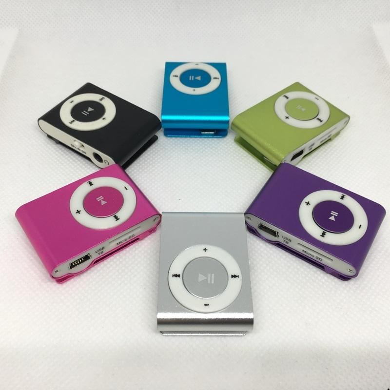 New Stylish Mini Cheap Clip Mp3 Music Player USB with SD card Slot black silver mixed 8 colors DHL Free