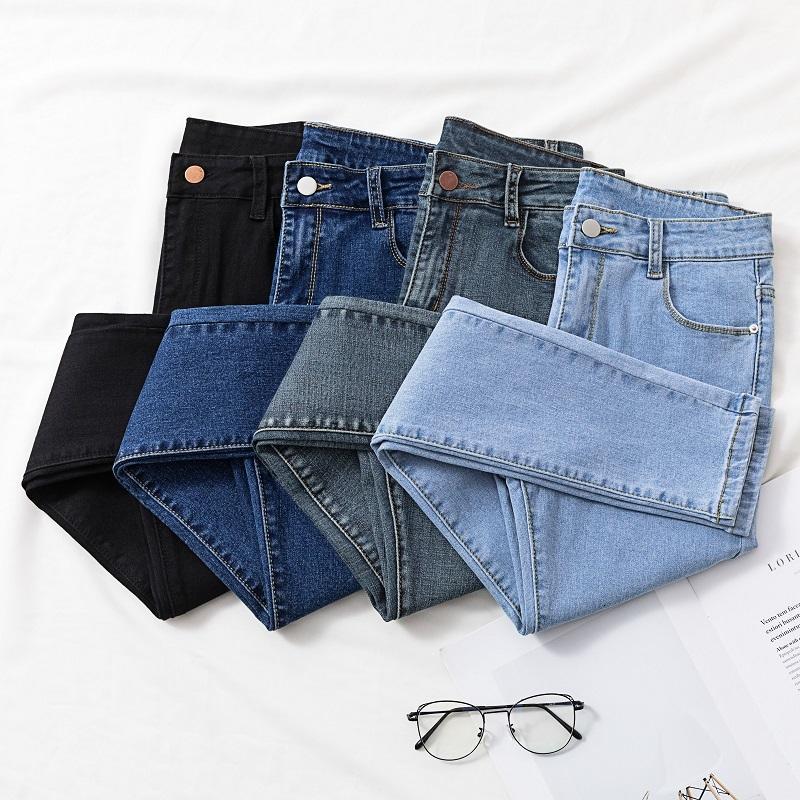 Agujero sólido azul NY JEANS 2020 Nuevo Nuevo elegante Elástico Denim Lápiz Pantalones Mujer Moda Coreana Tassel Jean Hermosa Alta Calidad