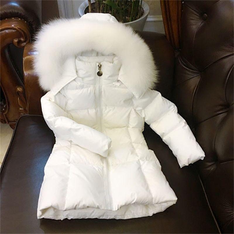 Russland Kinder Langzeitjacke Mädchen Winter Kälte Dicke Mäntel Natürliche Big Fuchs Haarkragen LJ201017