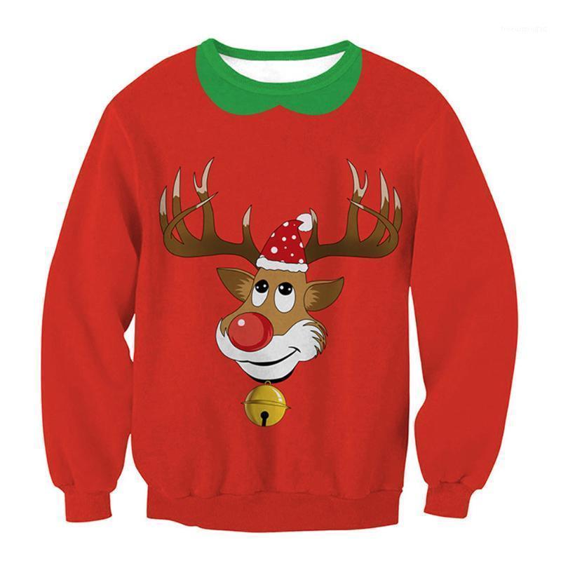 Femmes mignon sweat-shirt de Noël Santa et Snow Print Sweatshirts 2021 Mode Hiver Pullover Sweats à capuche1