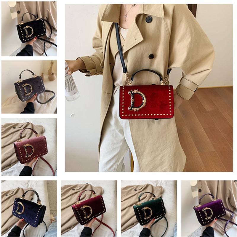 Мода письма на плечо сумки d velet женщины crossbody сумка для девочек сумка заклепки дизайн мессажер сумки на открытом воздухе путешествия сумки телефон