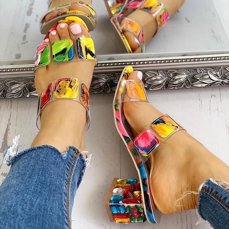Crystal Femmes Talons Sandales d'été Sandales d'été Peeep Toe Multies Multi Couleurs Chaussures Sandalias de Verano Para Mujer Y200323